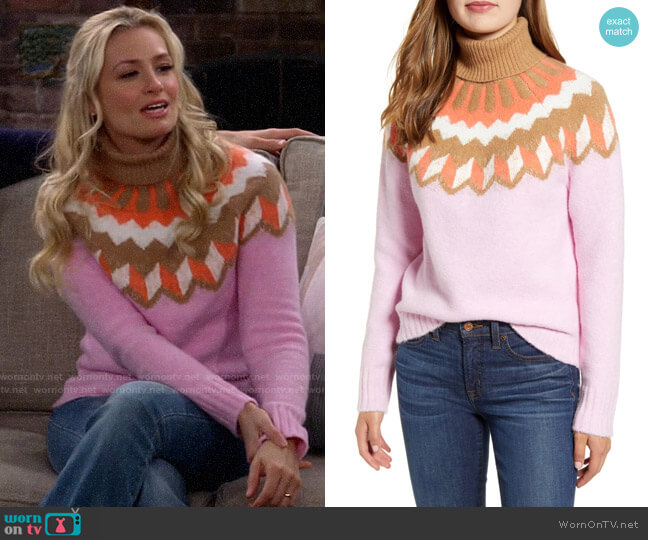 J. Crew Fair Isle Turtleneck Sweater in Supersoft Yarn worn by Gemma (Beth Behrs) on The Neighborhood