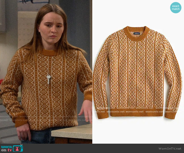 J. Crew Mens Printed Sweater worn by Eve Baxter (Kaitlyn Dever) on Last Man Standing