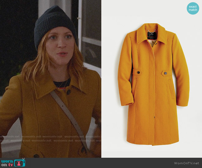 J. Crew New Lady Coat in Dark Amber worn by Julia Bechley (Brittany Snow) on Almost Family
