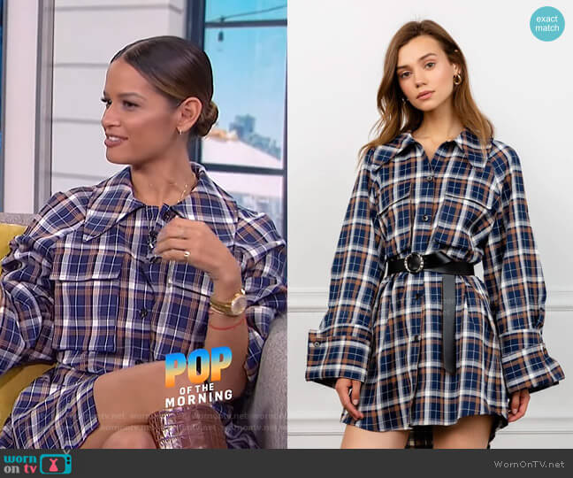 Maddi Plaid Shirt Dress by J. Ing worn by Rocsi Diaz on E! News