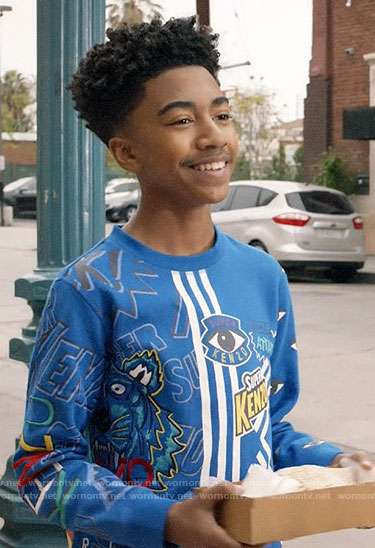 Jack's blue striped Kenzo sweatshirt on Black-ish