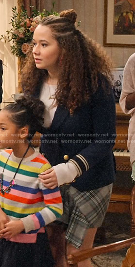 Jade's navy blazer and plaid skirt on Family Reunion