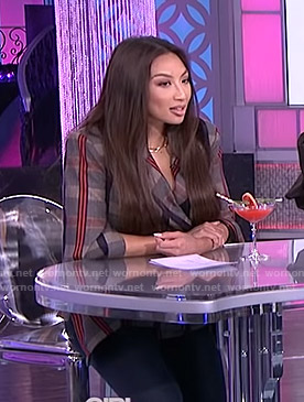 Jeannie's grey plaid blazer on The Real