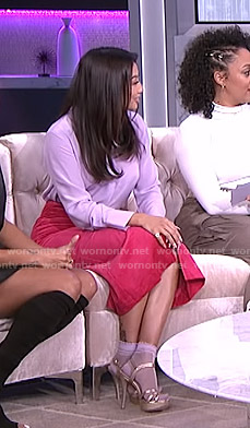 Jeannie's lilac blouse and pink corduroy skirt on The Real