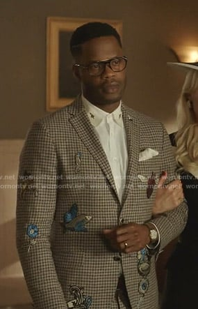 Jeff's check blazer with embroidery on Dynasty