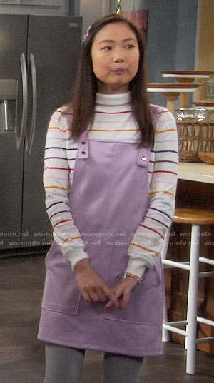 Jen's purple pinafore dress and striped turtleneck on Last Man Standing