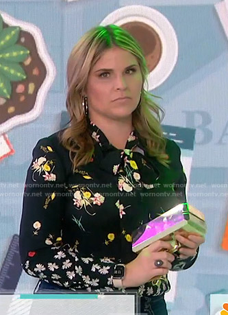 Jenna's black floral tie neck blouse on Today