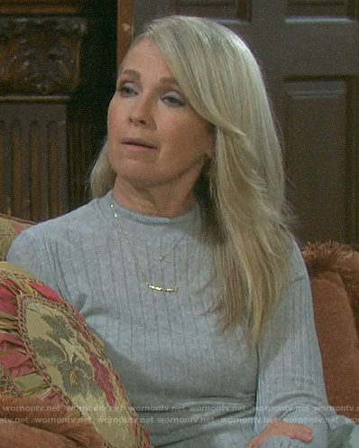 Jennifer's grey ribbed sweater on Days of our Lives