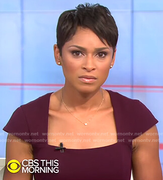 Jericka's purple square neck cap-sleeve dress on CBS This Morning