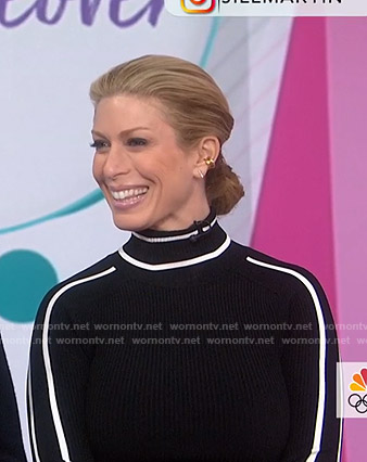 Jill's black contrast piping sweater on Today