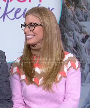 Jill's pink fair isle turtleneck sweater on Today