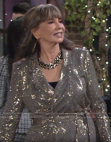 Jill's sequin tie waist jacket on The Young and the Restless