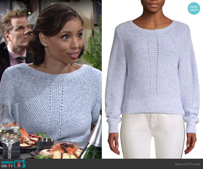 Joie Verlene Cotton & Cashmere Sweater worn by Elena Dawson (Brytni Sarpy) on The Young & the Restless