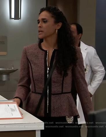 Jordan's pink peplum jacket on General Hospital