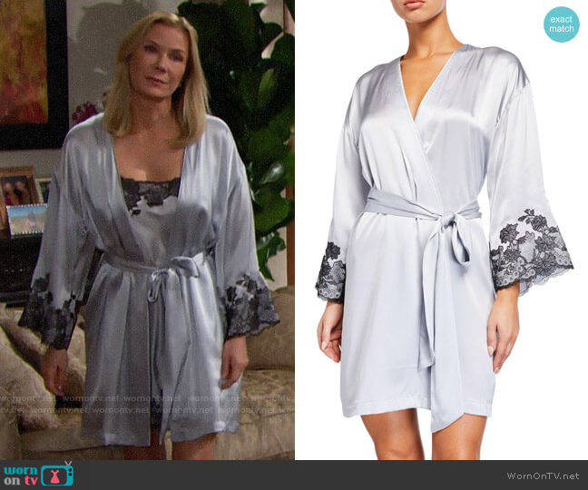 Josie Natori Lolita Lace-Trim Silk Wrap Robe worn by Brooke Logan (Katherine Kelly Lang) on The Bold & the Beautiful