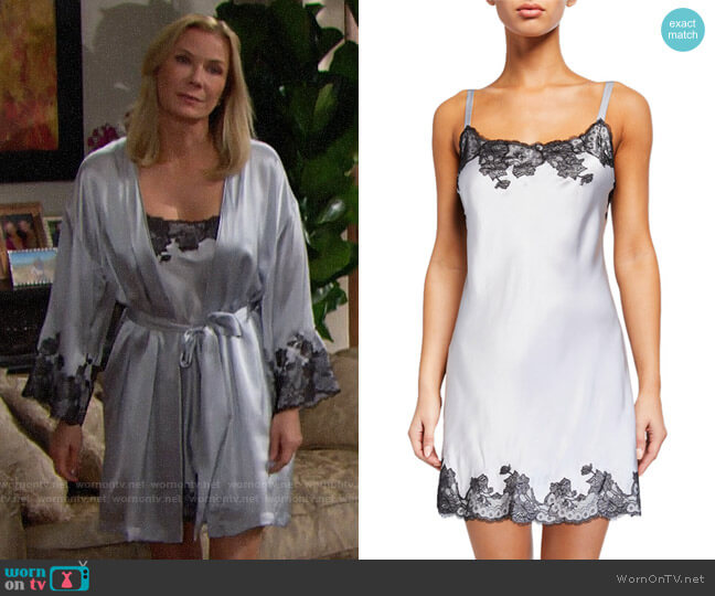 Josie Natori Lolita Scalloped Silk Chemise worn by Brooke Logan (Katherine Kelly Lang) on The Bold & the Beautiful