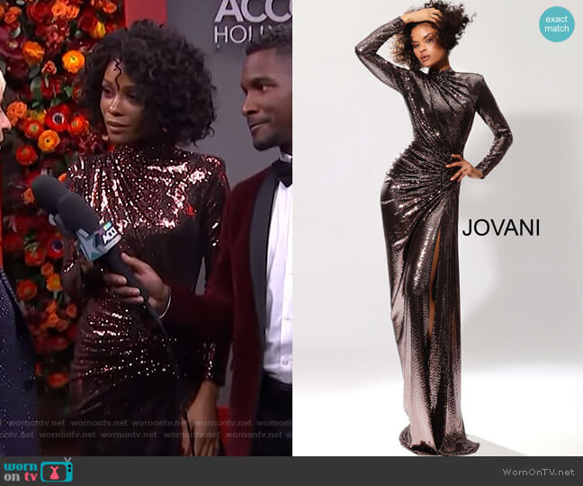 Long Sleeve Metallic Prom Dress by Jovani worn by Zuri Hall  on Access Hollywood