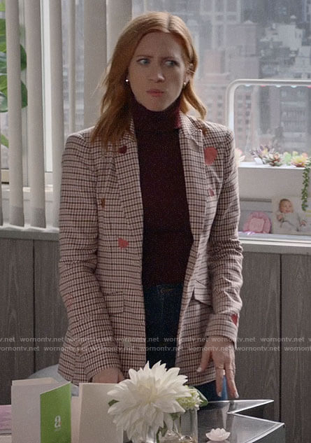 Julia's checked heart embroidered blazer on Almost Family