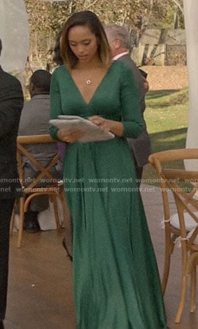 Julia's green long sleeved gown on God Friended Me