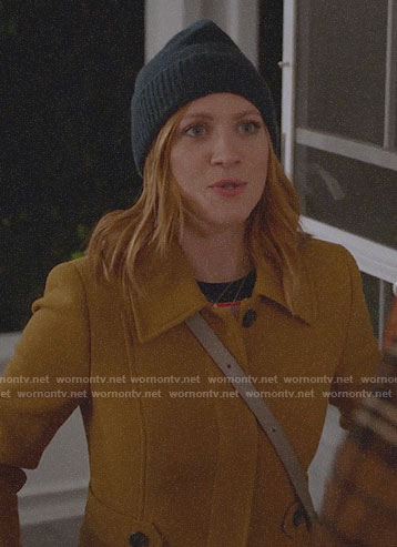 Julia's mustard yellow coat on Almost Family