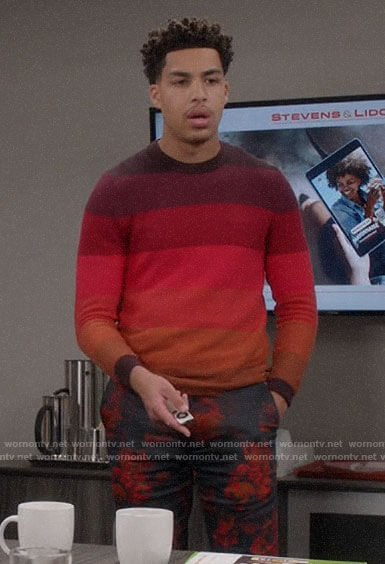 Junior's red striped sweater and floral trousers on Black-ish