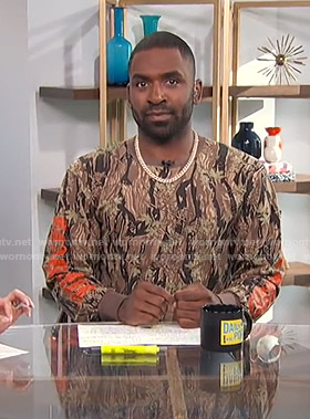Justin's camo print long sleeve tee on E! News Daily Pop