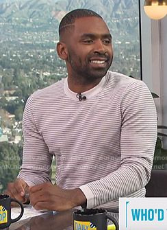 Justin's grey striped sweater on E! News Daily Pop