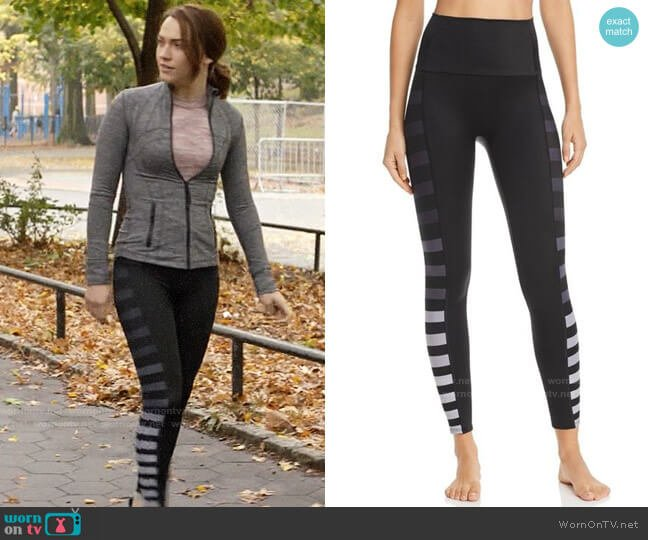 K-Deer Ombré Side-Stripe Ankle Leggings worn by Cara Bloom (Violett Beane) on God Friended Me