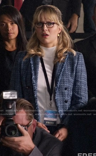 Kara's blue tweed blazer on Legends of Tomorrow
