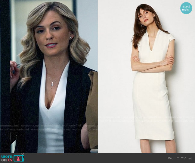 Karen Millen Ruched Sheath Dress worn by Amy Quinn (Lindsey Gort) on All Rise