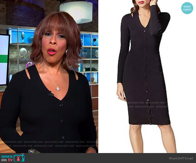 Snap Detail Rib-Knit Dress by Karen Millen worn by Gayle King  on CBS This Morning