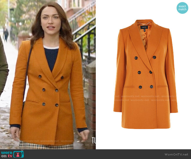 Karen Millen Double-Breasted Coat worn by Cara Bloom (Violett Beane) on God Friended Me