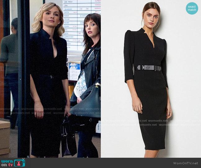 Karen Millen Leather Belt Pencil Dress worn by Amy Quinn (Lindsey Gort) on All Rise