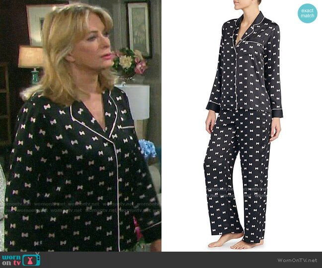 Kate Spade Bow Print Charmeuse Pajamas worn by Marlena Evans (Deidre Hall) on Days of our Lives
