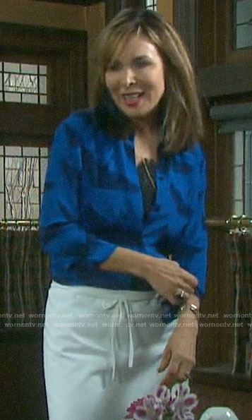 Kate's blue bird print shirt on Days of our Lives