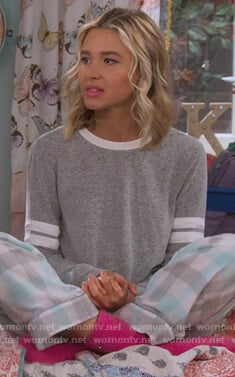Katie's gray stripe sleeve sweatshirt on Alexa & Katie
