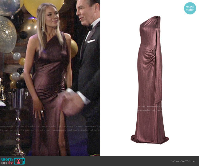 Katie May Attention Seeker One-Shoulder Gown worn by Abby Newman (Melissa Ordway) on The Young & the Restless