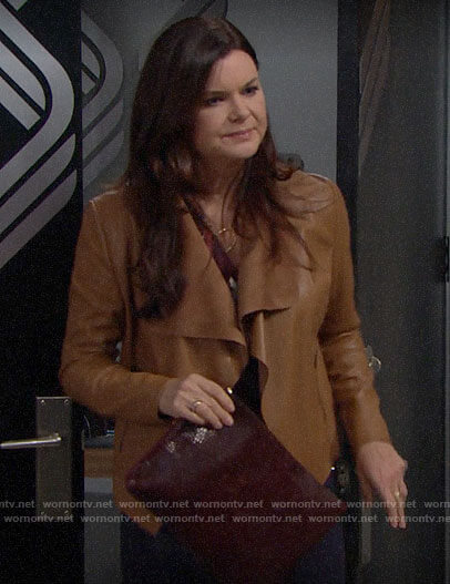 Katie's tan leather jacket on The Bold and the Beautiful