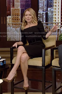 Kelly's black square-neck dress on Live with Kelly and Ryan