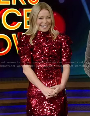 Kelly's red sequin mini dress on Live with Kelly and Ryan