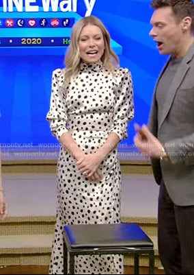 Kelly's white polka dot dress on Live with Kelly and Ryan