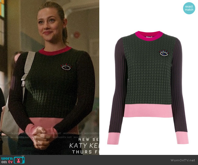 Kenzo Beaded Eye Motif Jumper worn by Betty Cooper (Lili Reinhart) on Riverdale