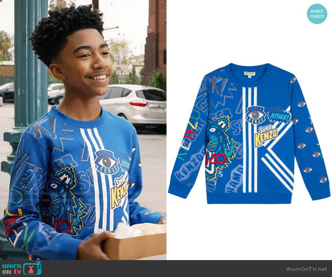 Kenzo Multi Icon Graphic Sweatshirt worn by Jack Johnson (Miles Brown) on Blackish