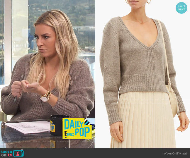 Charlette V-neck Sweater by Khaite worn by Morgan Stewart  on E! News