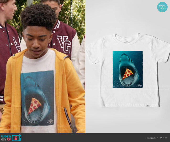 Kid Dangerous Shark Pizza T-shirt worn by Jack Johnson (Miles Brown) on Blackish