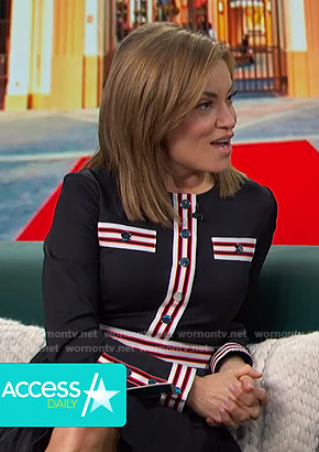 Kit's black stripe-contrast dress on Access Hollywood