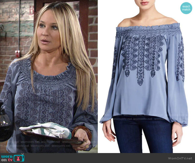 Kobi Halperin Brenda Blouse worn by Sharon Collins (Sharon Case) on The Young & the Restless