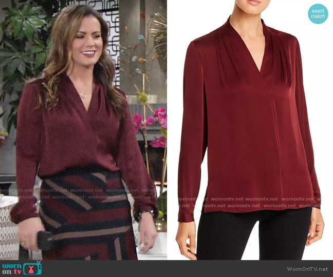 Kobi Halperin Nellie Blouse in Tannin worn by Chelsea Lawson (Melissa Claire Egan) on The Young & the Restless