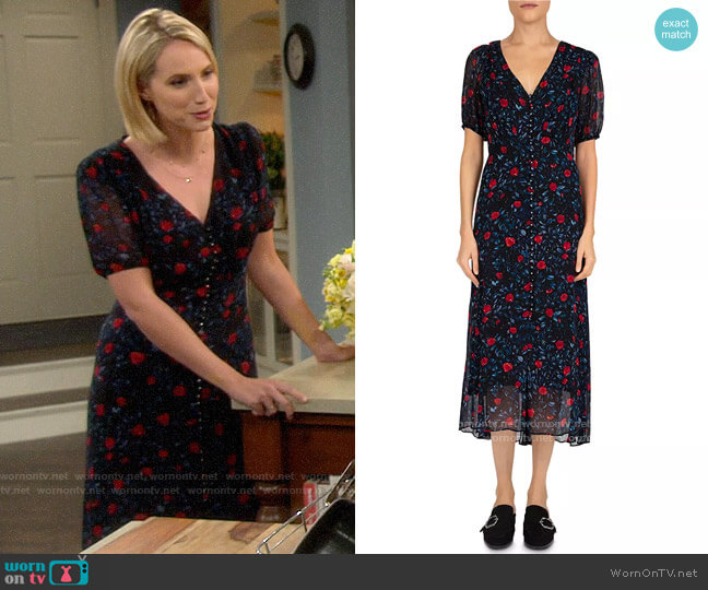 The Kooples Poison Roses Front-Button Midi Dress worn by Mandy Baxter (Molly McCook) on Last Man Standing