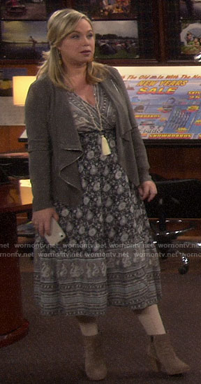 Kristin's black and white printed midi dress and draped jacket on Last Man Standing